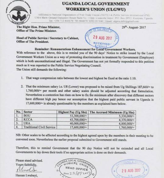 Uganda Local Government Workers Union (ULGWU) letter to PM