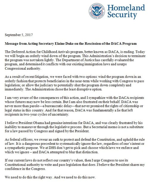 "US: DHS Internal Memo: ""Message from Acting Secretary Elaine"