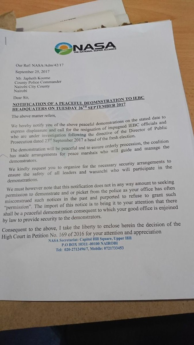 NASA Letter To Police Commander Koome: U201cNotification Of A Peaceful  Demonstration To IEBC Headquarters On Tuesday 26th September 2017u201d  (25.09.2017)
