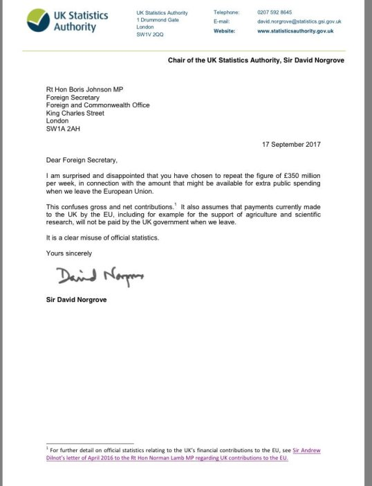 Uk statistics authority chairman sir david norgrove letter to uk statistics authority chairman sir david norgrove letter to foreign secretary boris johnson on his clear misuse of statistics 17092017 thecheapjerseys Image collections