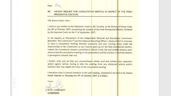 Chairman wafula chebukati letter to presidential candidates re chairman wafula chebukati letter to presidential candidates re urgent request for consultative meeting in respect of the fresh presidential election thecheapjerseys Images