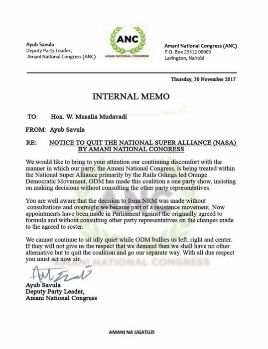 Nasa Anc Internal Memo  Re Notice To Quit The National Super