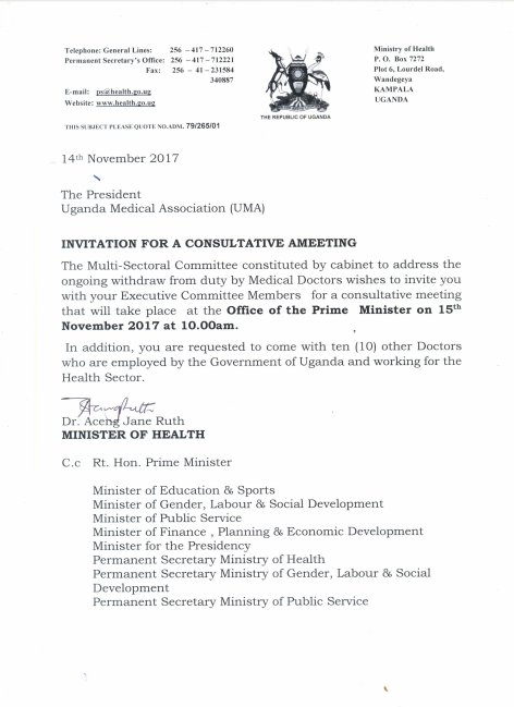 Ministry of health letter to uganda medical association invitation ministry of health letter to uganda medical association invitation for a consultative meeting 14112017 stopboris Gallery