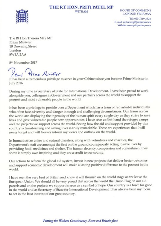 Tories: Resignation Letter of Hon. Priti Patel MP as the Secretary ...