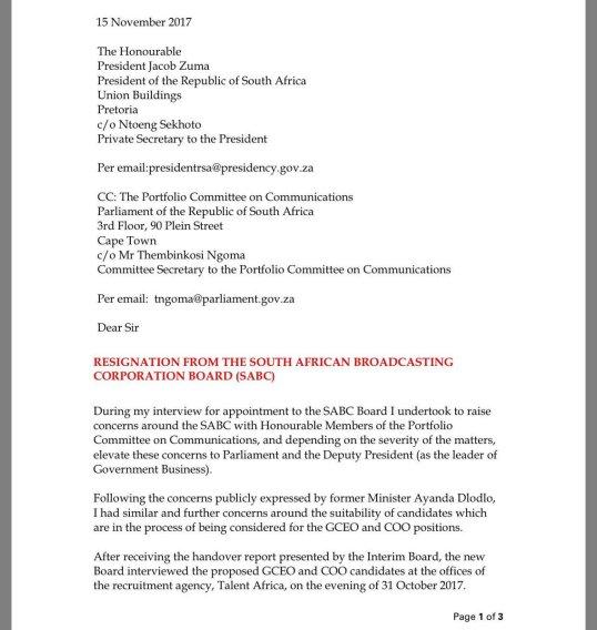 Sabc resignation letter of managing director rachel kalidass 1511 sabc resignation letter of managing director rachel kalidass 15112017 expocarfo Images
