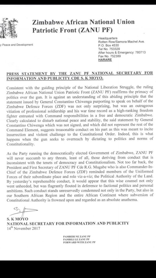 Zimbabwe press statement by the zanu pf national secretary for zimbabwe press statement by the zanu pf national secretary for information and publicity cde sk moyo 14112017 thecheapjerseys Images