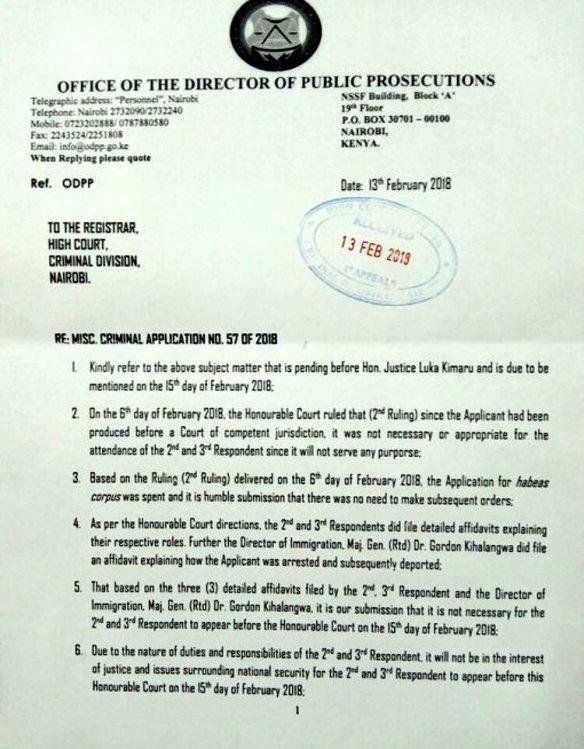 """Kenya: ODPP letter to the Registrar of High Court – """"Re"""
