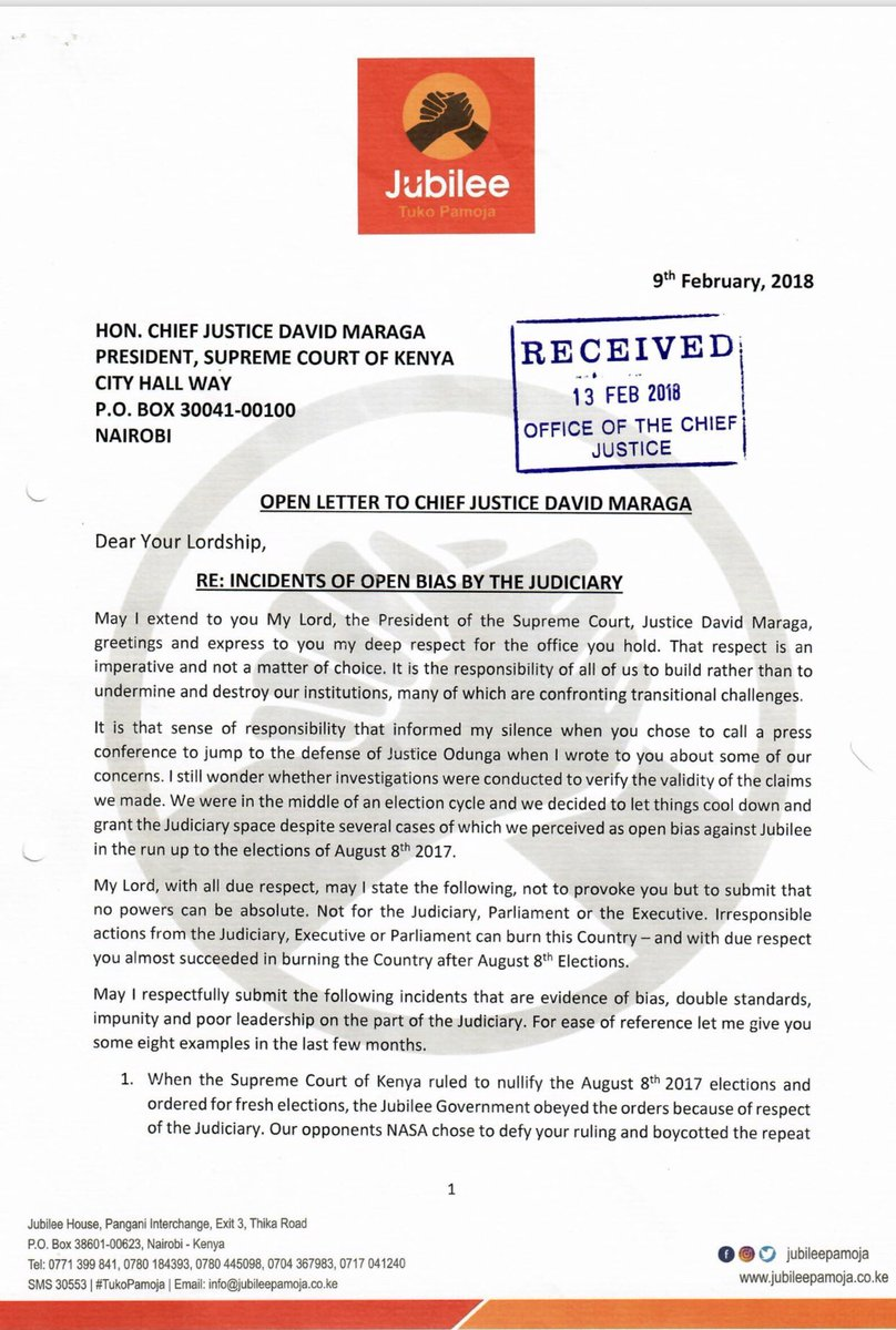 jubilee secretary general raphael tuju letter to chief justice david maraga re incidents of open bias by the judiciary 09022018 minbane