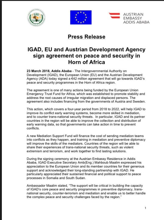 Igad Eu And Austrian Development Agency Sign Agreement On Peace And