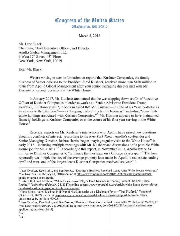 White House: Ranking House Representatives letter to Chairman Leon Black of  Apollo Global Management inquiring about the loan to Jared Kushner  (08.03.2018)