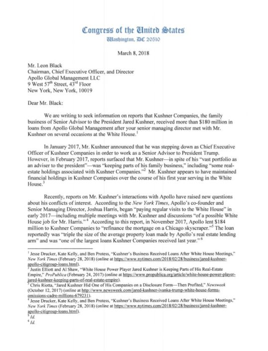 white house ranking house representatives letter to chairman leon black of apollo global management inquiring about the loan to jared kushner 08032018