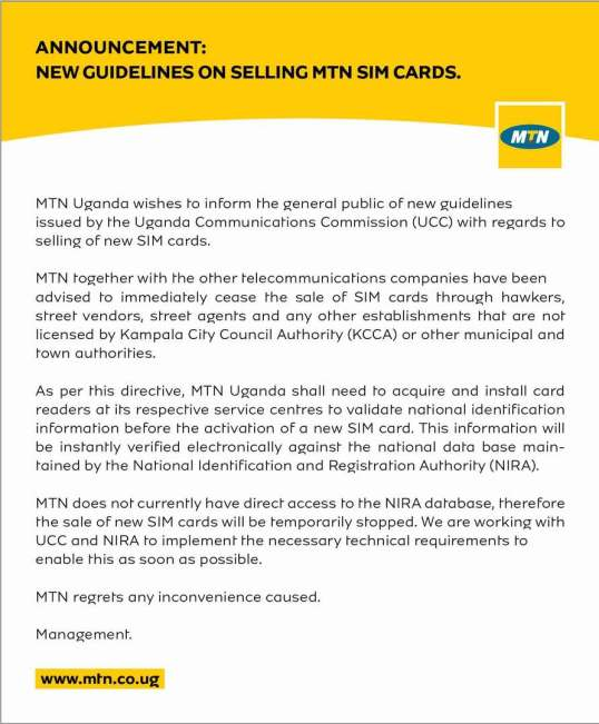 """MTN Uganda – """"Announcement: New Guidelines on Selling MTN Sim Cards"""