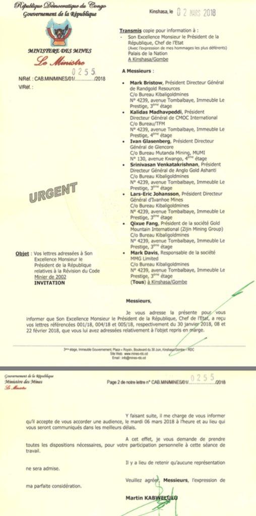 """lettre objet RDC: Ministere des Mines lettre – """"Objet: Vos Lettres addresses a  lettre objet"""