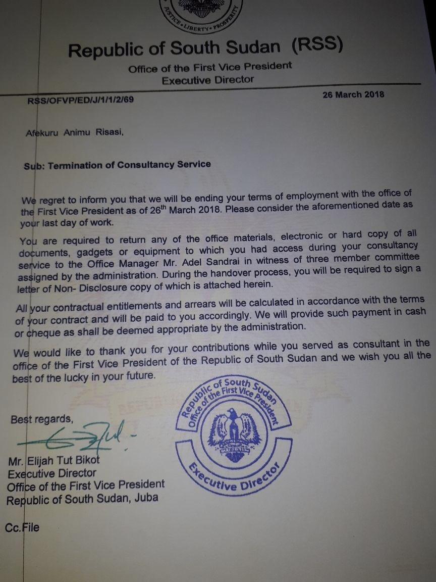 marketing agency termination letter sample firing