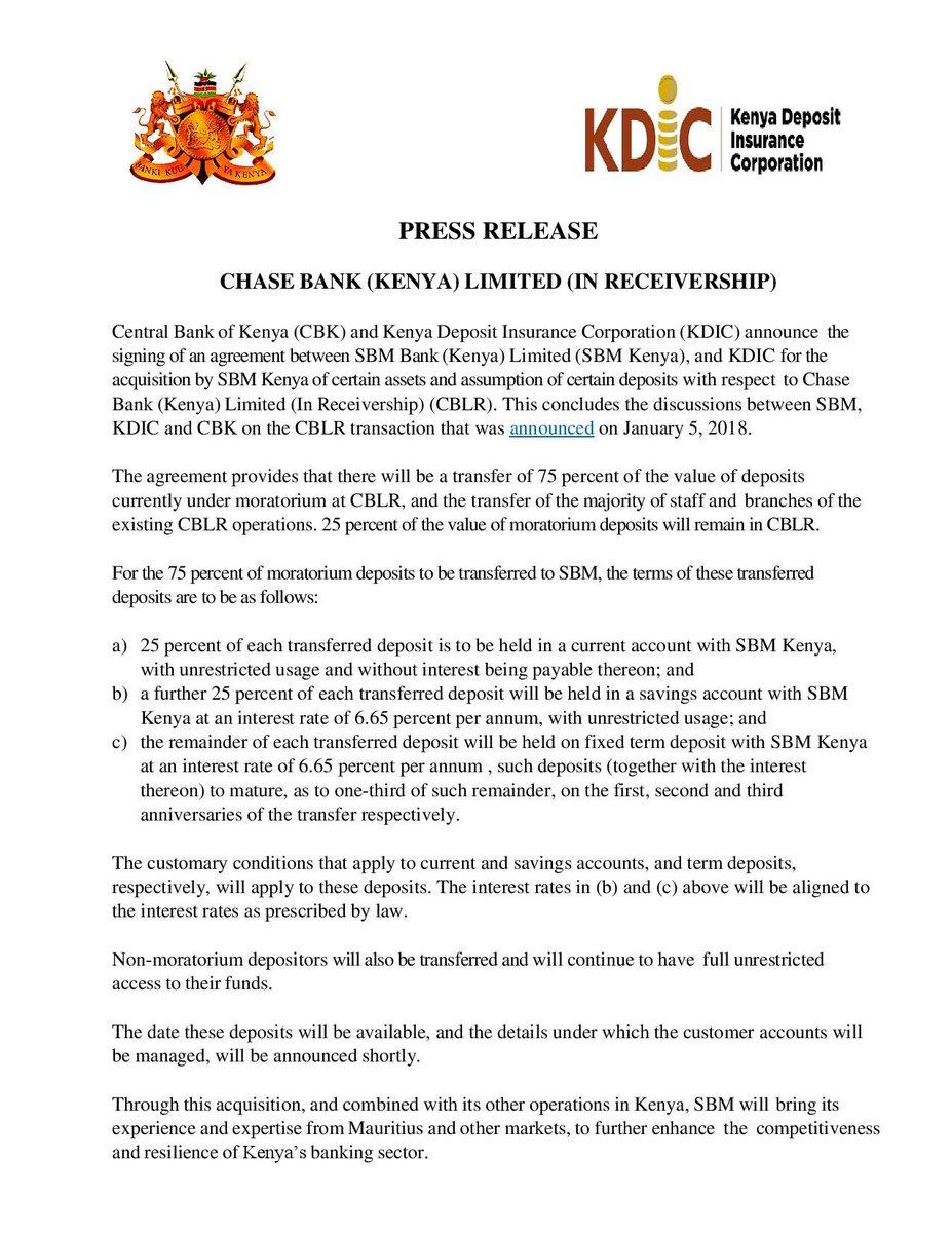 Kenya: CBK U0026 KDIC U2013 Chase Bank (Kenya) Limited (In Receivership) U2013  (17.04.2018)