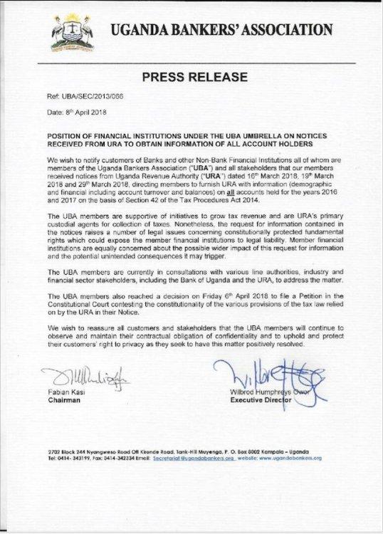 Uganda Bankers' Association: Position of Financial