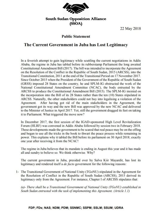 South Sudan Ssoa Public Statement The Current Government In Juba