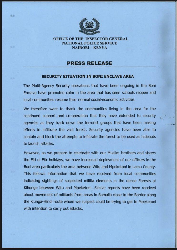 Kenya Police Service: Security Situation in Boni Enclave Area (11.06 ...