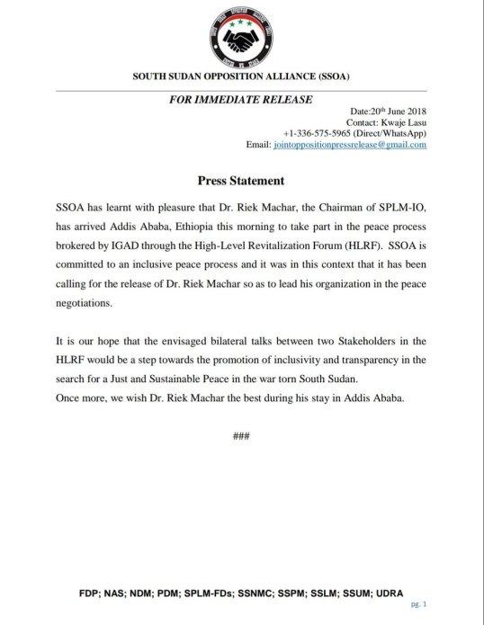 South Sudan Opposition Alliance (SSOA) Press Statement on Dr  Riek