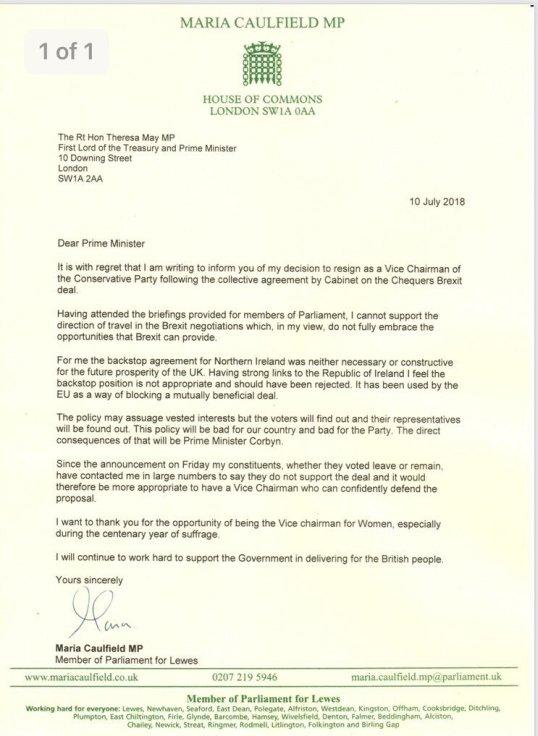 Brexit: Maria Caulfield MP Resignation Letter (10.07.2018)   MinBane