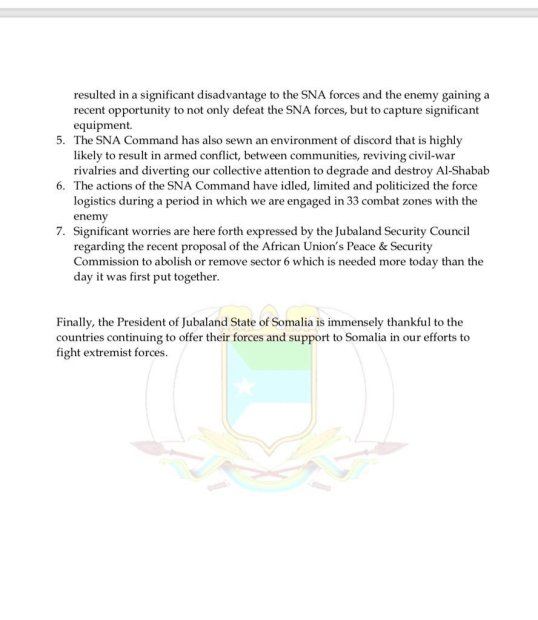 Jubaland State of Somalia Monthly Security Council Meeting