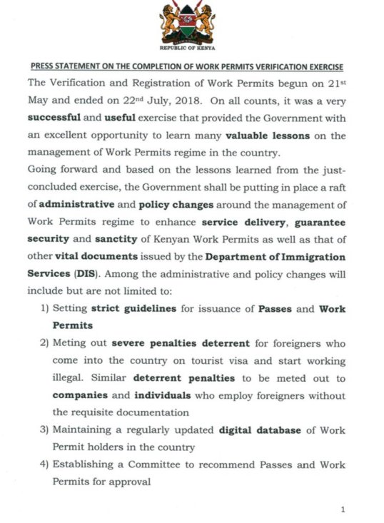 Kenya press statement on the completion of work permits kenya press statement on the completion of work permits verification exercise 30072018 thecheapjerseys Images
