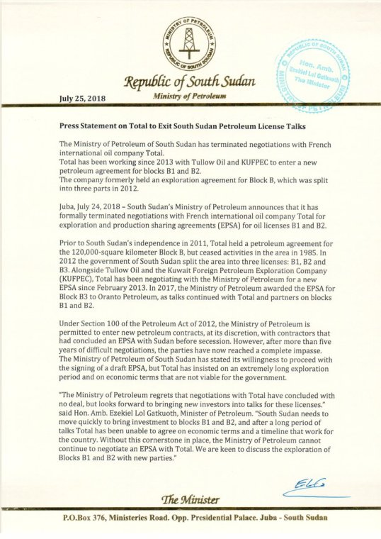 South Sudan Press Statement On Total To Exit South Sudan Petroleum