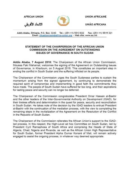 Statement Of The Chairperson Of The African Union Commission On The
