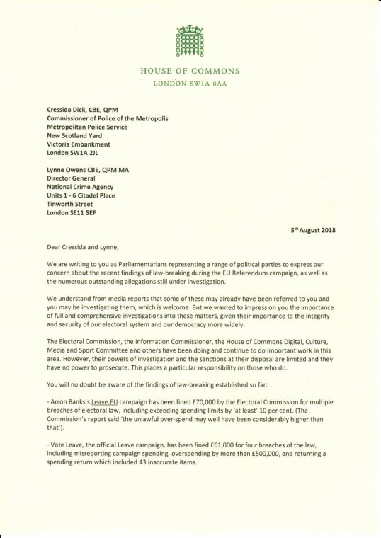 Brexit dozens of mps meps and lords letter asks metropolitan brexit dozens of mps meps and lords letter asks metropolitan police nca to investigate the vote leave campaign 05082018 expocarfo Images