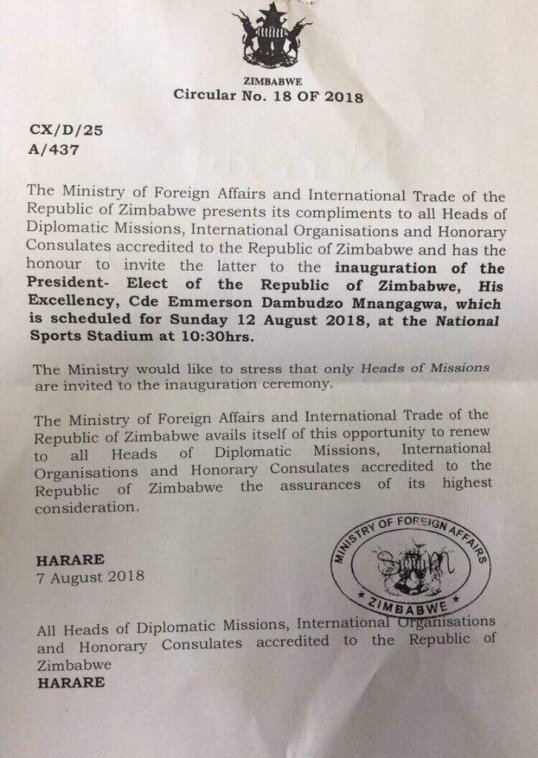 Zimbabwe circular no 18 of 2018 inaguration of president zimbabwe circular no 18 of 2018 inaguration of president mnangaga scheduled 12 august 2018 07082018 stopboris Choice Image