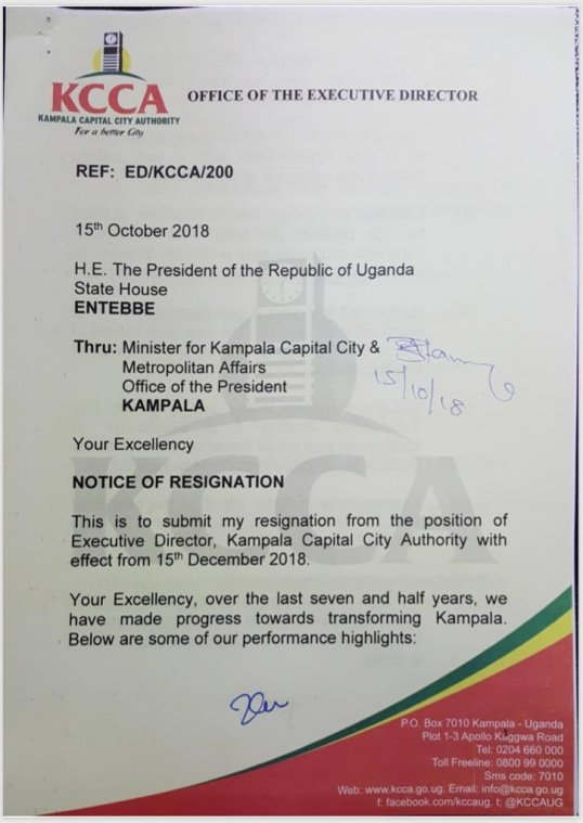 kcca executive director jennifer musisi resignation letter to