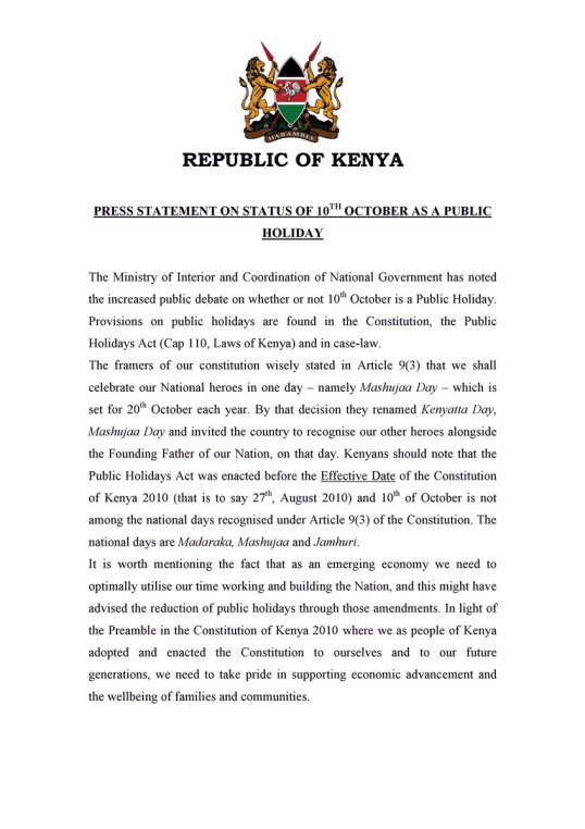 Kenya: Press Statement on Status of 10th October as a Public Holiday