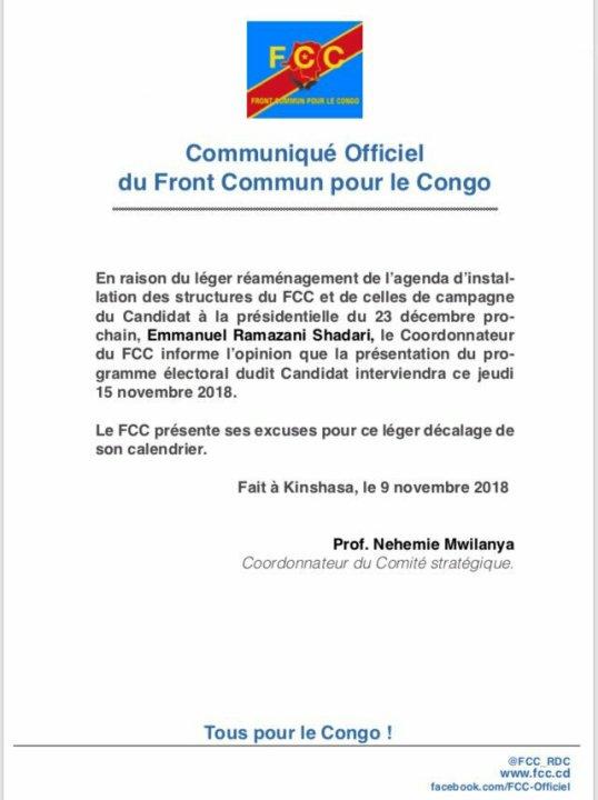 RDC: FCC – Communique Officiel du Front Commun pour le Congo
