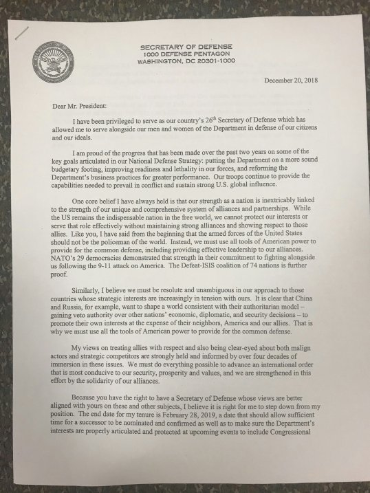 USA: Secretary of Defense James Mattis resignation letter (20.12 ...