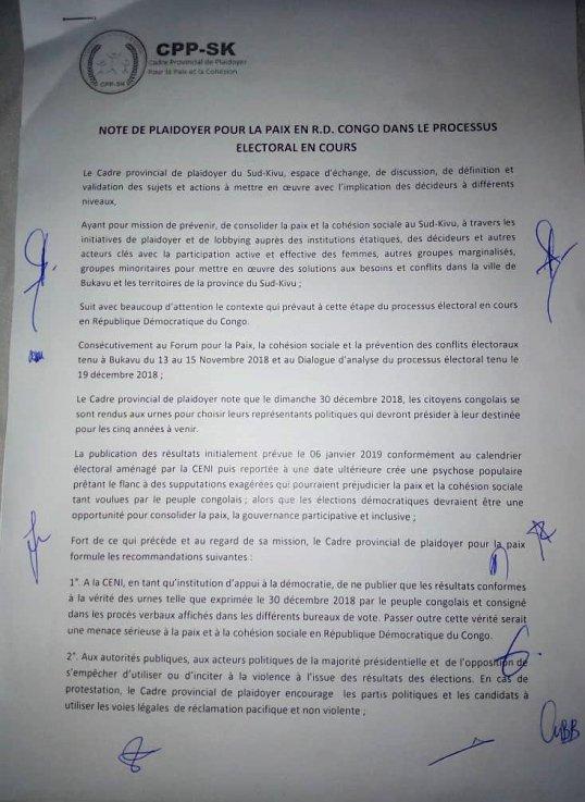 RDC: CPP-SK – Note de PLA/Doyer Pour la Paix en R D  Congo