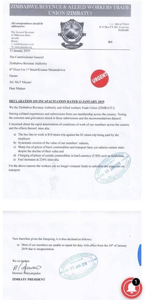 Zimbabwe: ZIMRATU – Declaration on Incapacitation dated 13 January