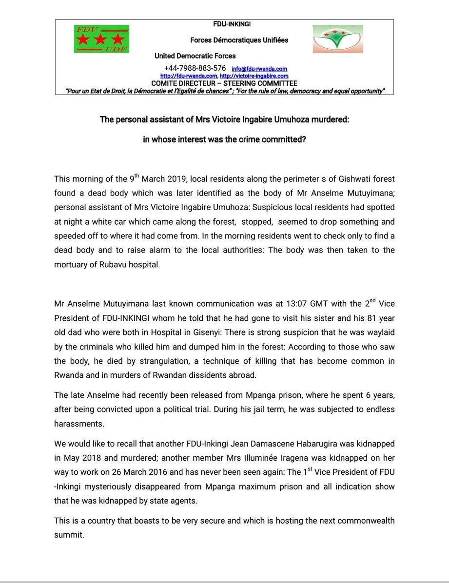 Rwanda: FDU-Inkingi – The personal assistant of Mrs