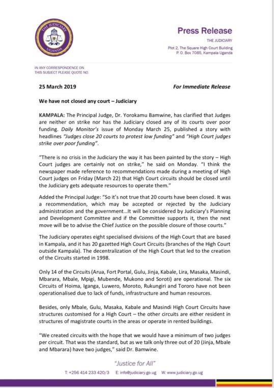 The Judiciary – Uganda: We have not closed any Court – Judiciary