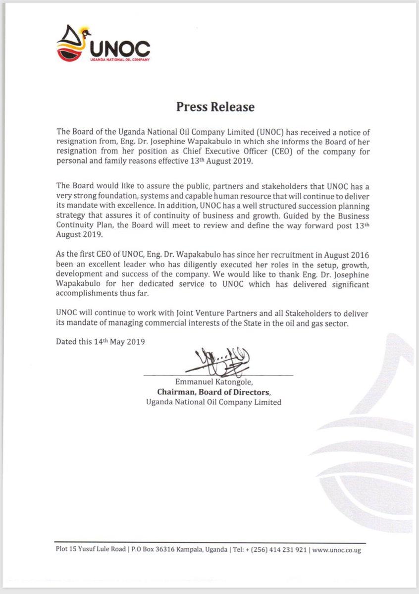 Uganda National Oil Company: Press Release (14 05 2019