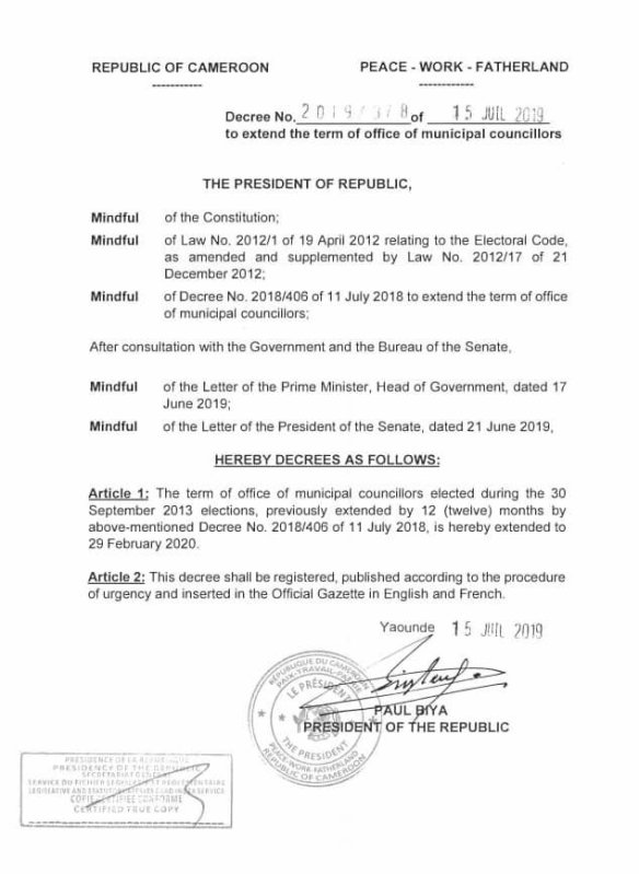 Cameroon: Decree No  2019/378 of 15 July 2019 to extend the term of