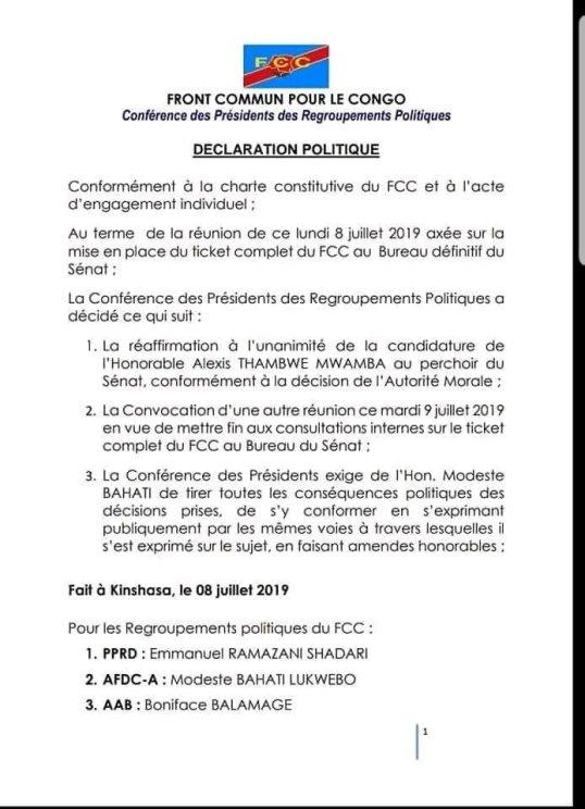 RDC: FCC – Declaration Politique (08 07 2019) | MinBane