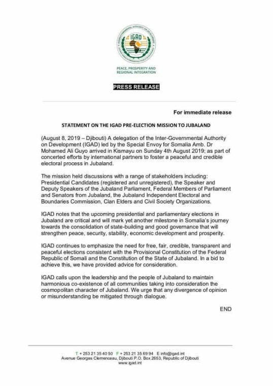 Somalia: Statement on the IGAD Pre-Election Mission to