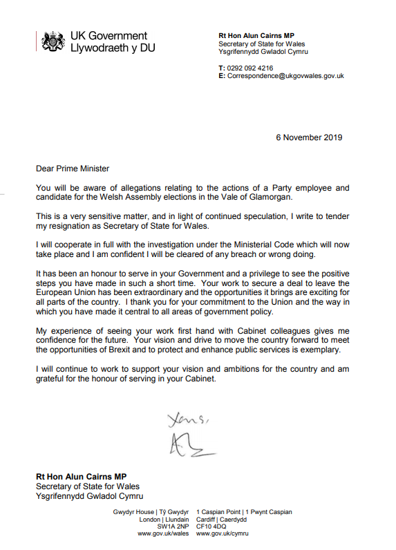 Brexit: Alun Cairns MP resignation letter as Secretary of ...