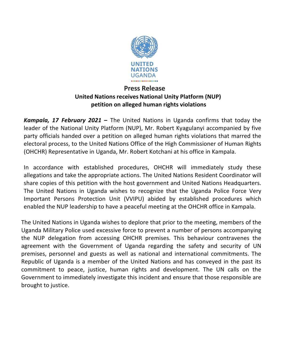 United Nations (UN) in Uganda: United Nations in Uganda received a petition from the National Unity Platform (NUP) on alleged human rights violations (17.02.2021)